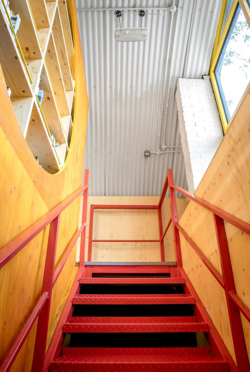 Yotam Ottolenghi's test kitchen features red staircase
