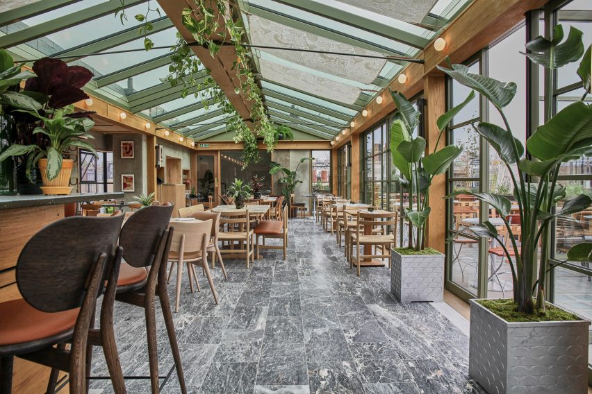 Interiors of Roof Garden restaurant inside Pantechnicon in London