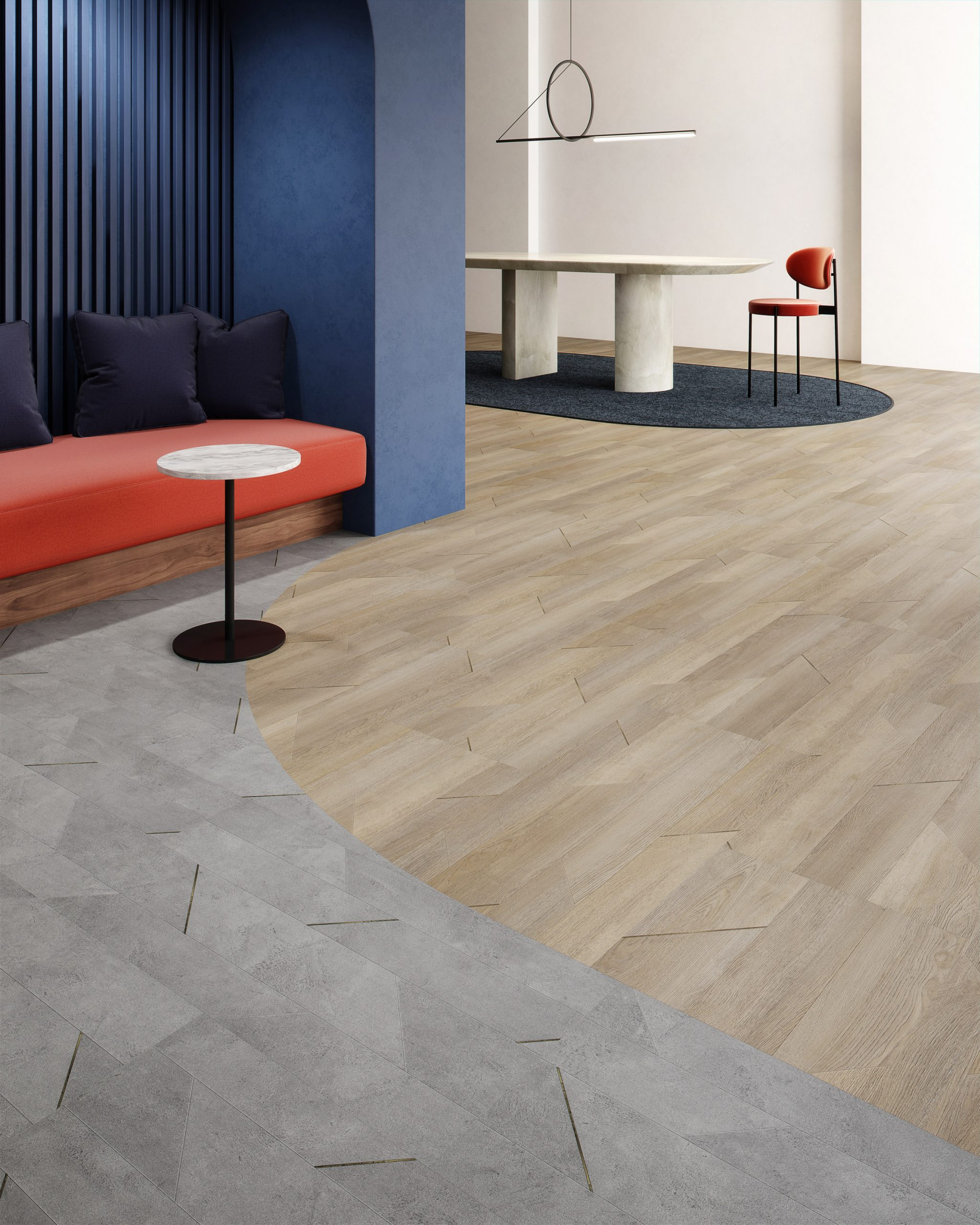 Inset collection of wood-and concrete-effect flooring by Patcraft