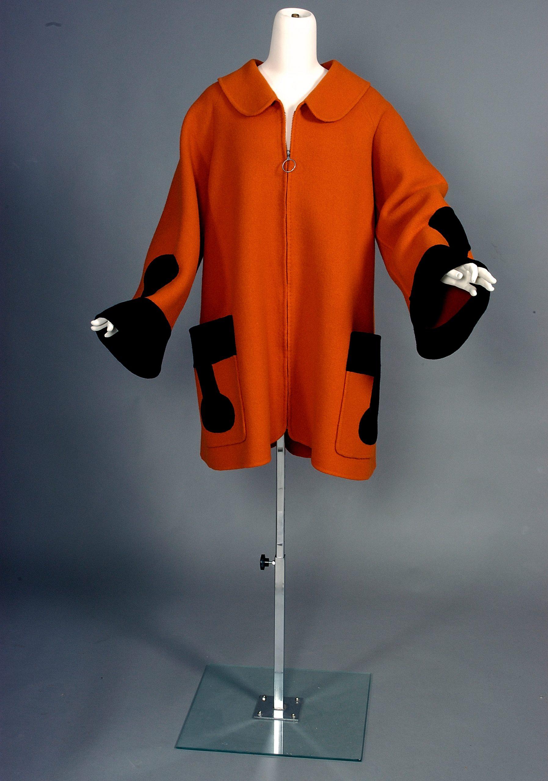 Orange and black coat by Pierre Cardin