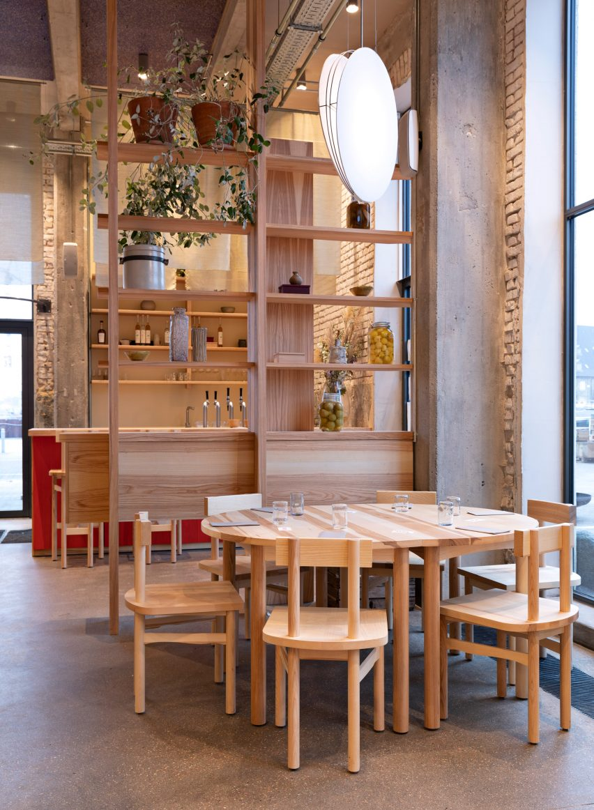 Wooden furniture in POPL burger restaurant by Spacon & X and e15 for Noma