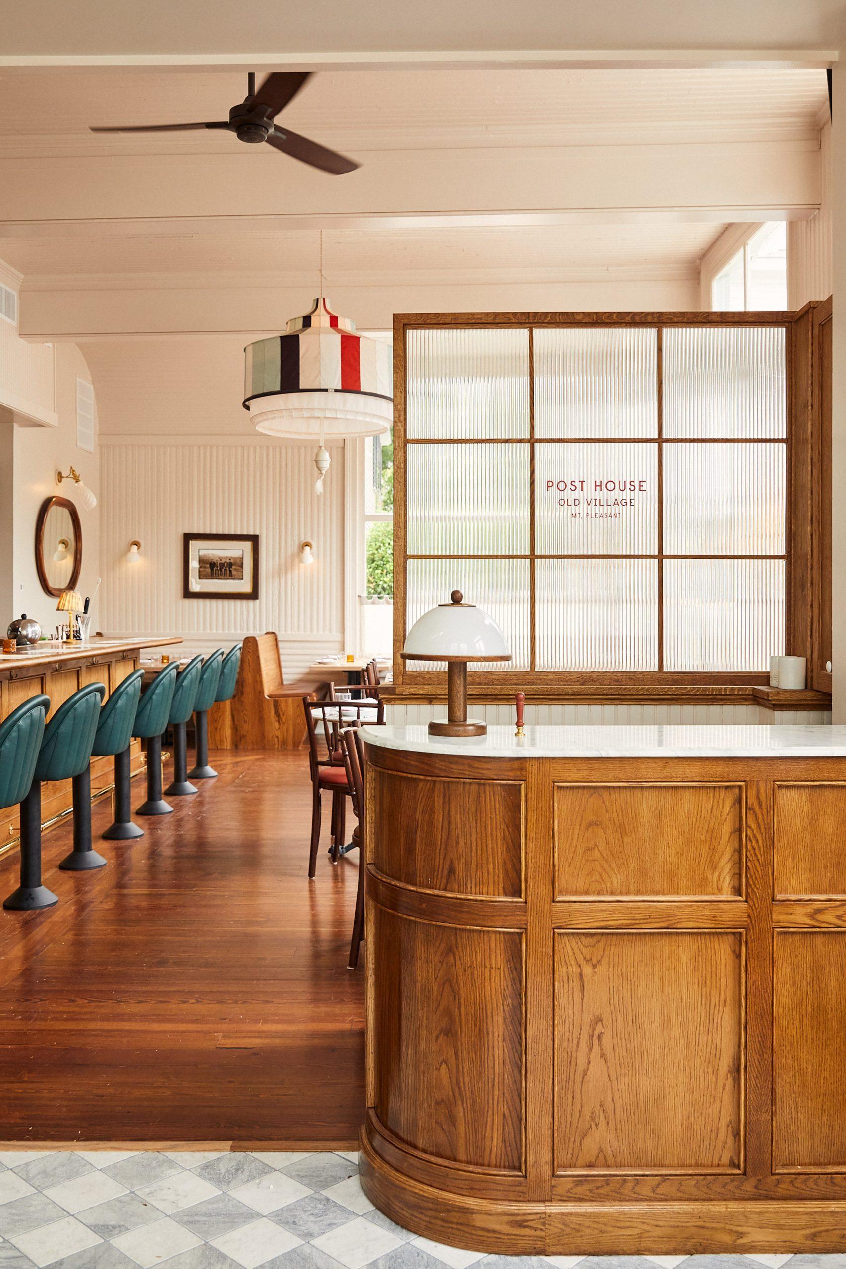 Bar inside Post House inn in Charleston, South Carolina