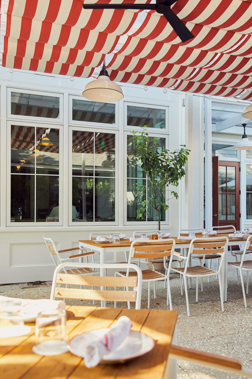 Outdoor dining area of Post House inn in Charleston, South Carolina