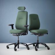 Green RH New Logic chairs by Flokk
