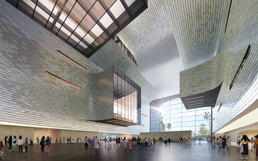 Inside the atrium of the proposed Shenzhen Science and Technology Museum by Zaha Hadid Architects in China