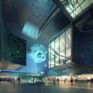The atrium inside of Shenzhen Science and Technology Museum by Zaha Hadid Architects