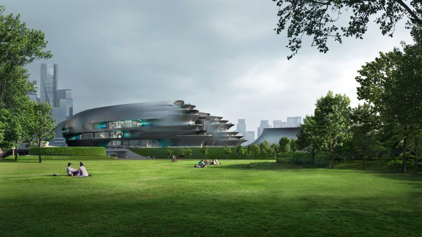 The exterior of the proposed Shenzhen Science and Technology Museum by Zaha Hadid Architects in China