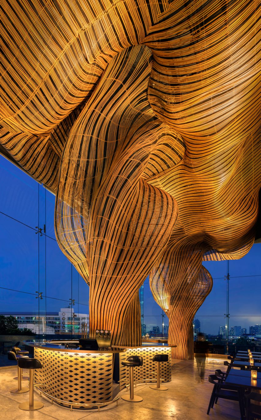 Rattan sculptures at Spice and Barley by Enter Projects Asia