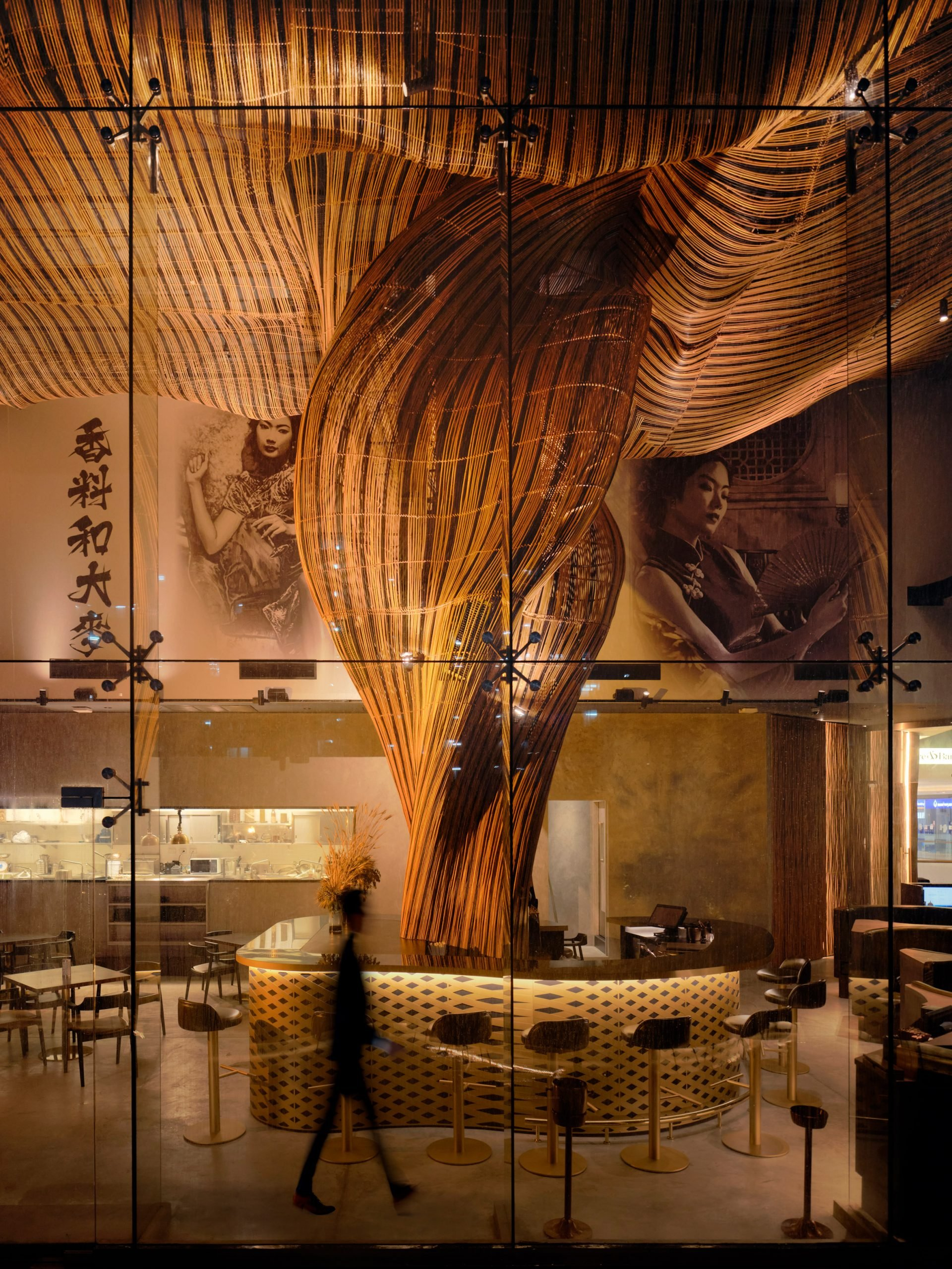Rattan column at Spice and Barley by Enter Projects Asia