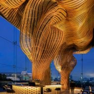 Enter Projects Asia weaves rattan sculptures through Spice & Barley restaurant in Bangkok