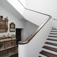 A staircase in the refurbished St John at Hackney by John Pawson and Thomas Ford & Partners