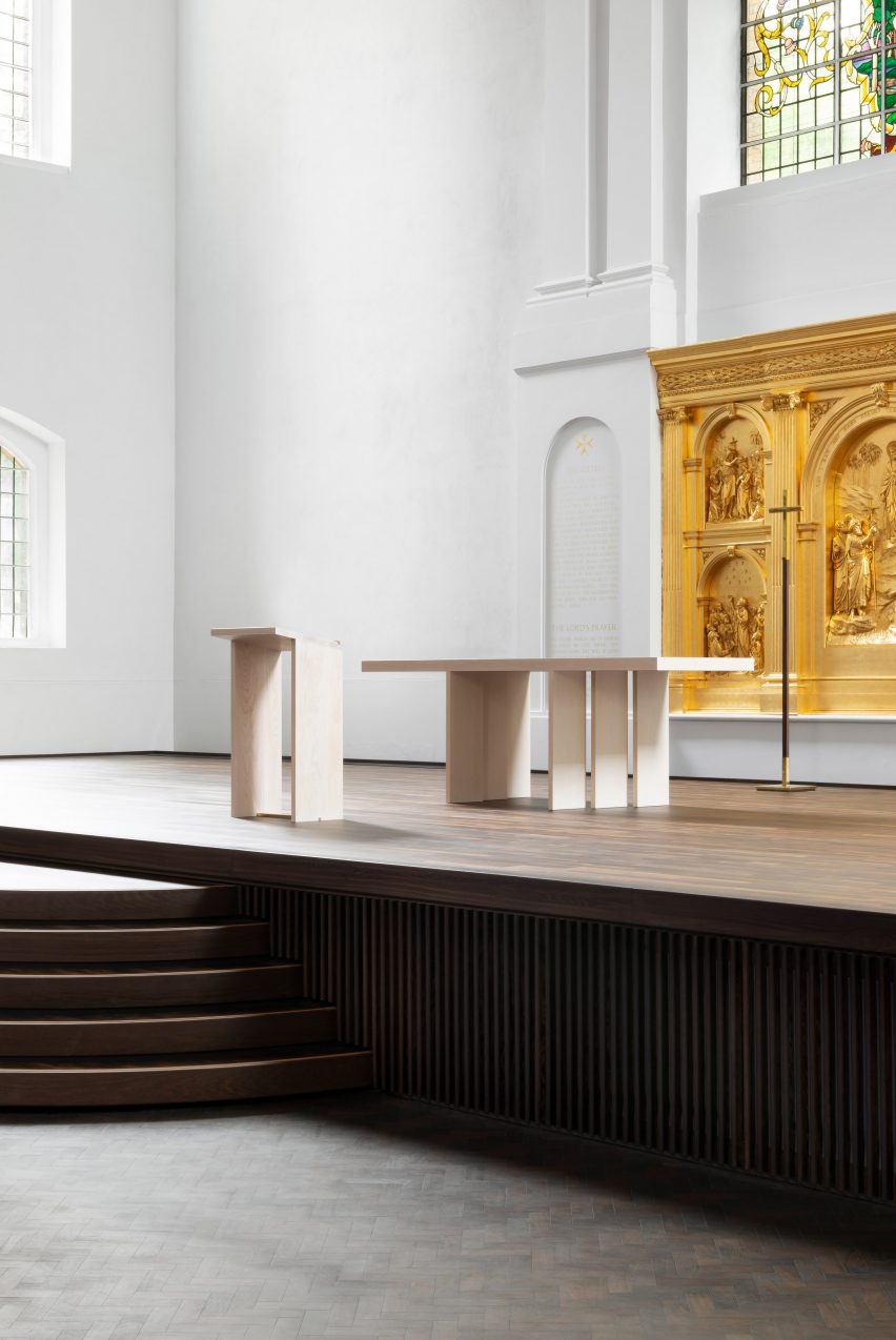 The sanctuary of the refurbished St John at Hackney by John Pawson and Thomas Ford & Partners