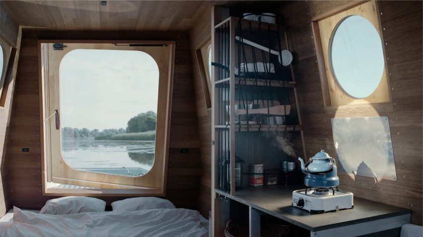 Bed and kitchen of the Sneci houseboat