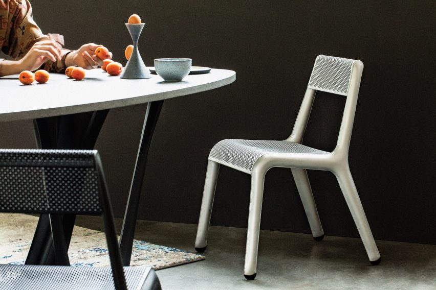 Studio Zieta's Ultraleggera chair in silver and black
