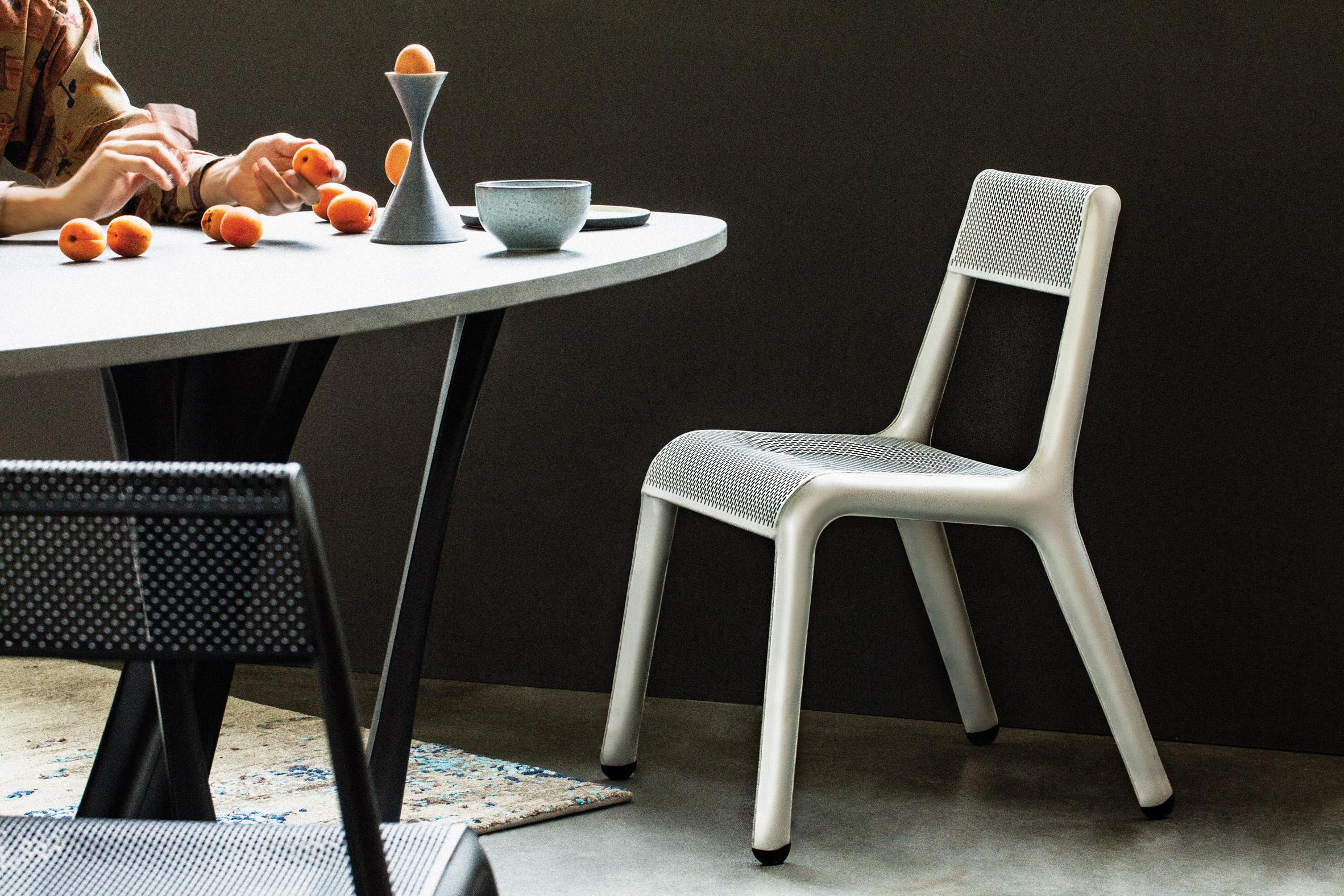Studio Zieta's Ultraleggera chair in silver and black