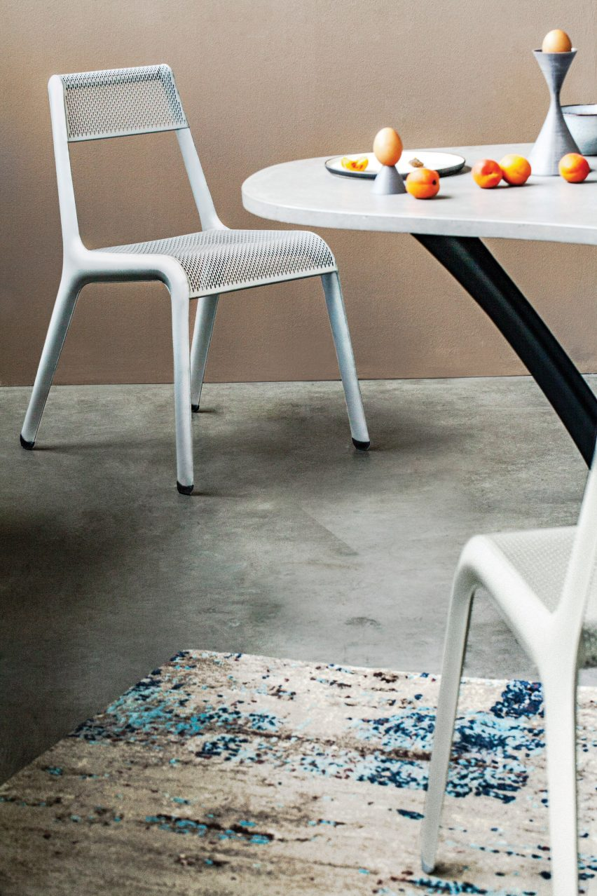 Studio Zieta's Ultraleggera chair in silver