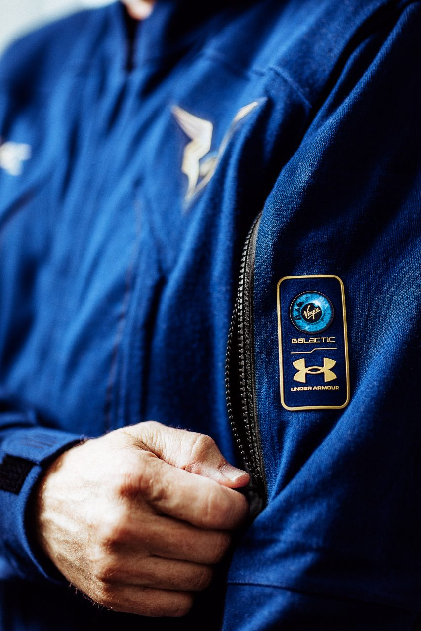 Detail of Virgin Galactic pilots' spacesuits by Under Armour