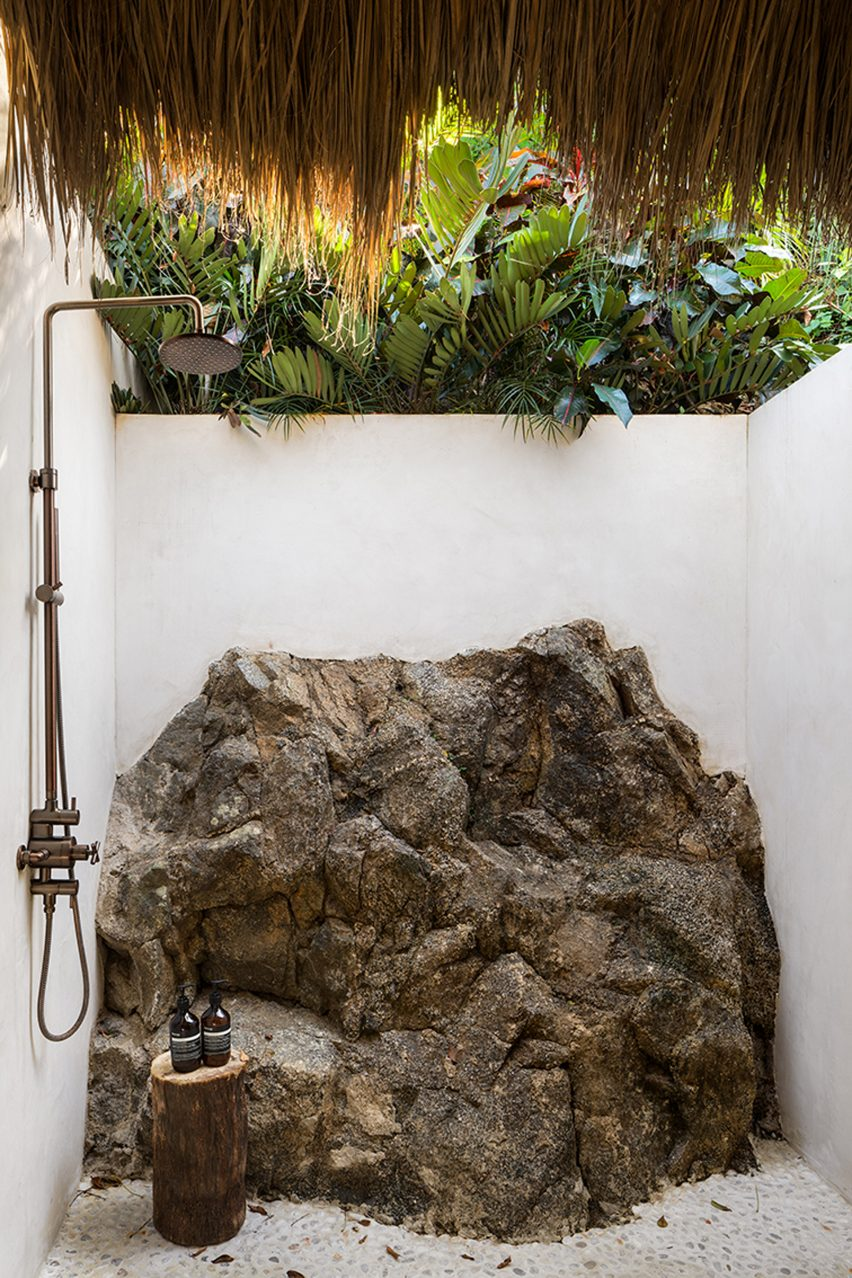 Outdoor shower at Villa Pelícanos by Main Office