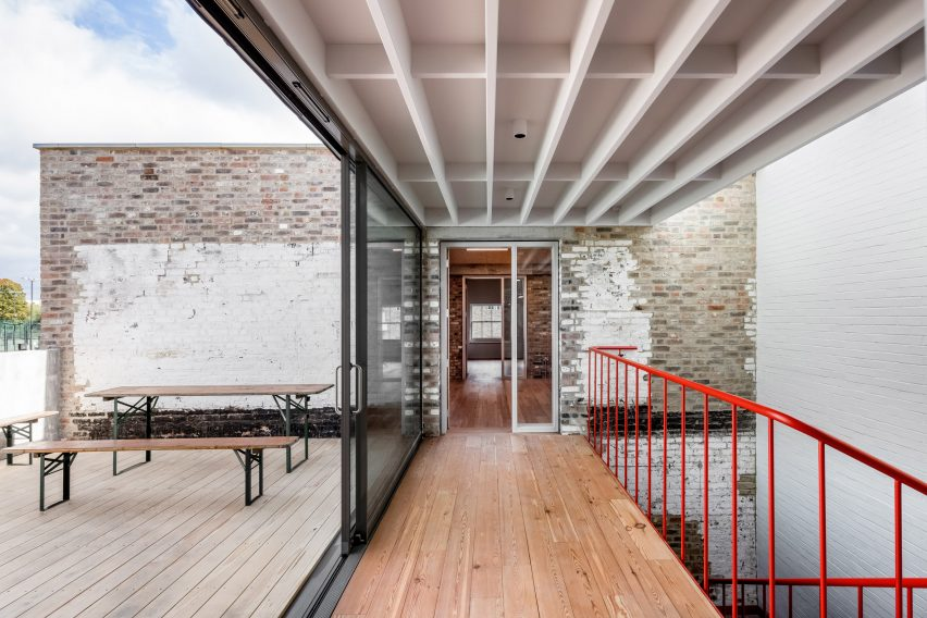 Roof terrace at Yorkton Workshops by Pearson Lloyd and Cassion Castle Architects