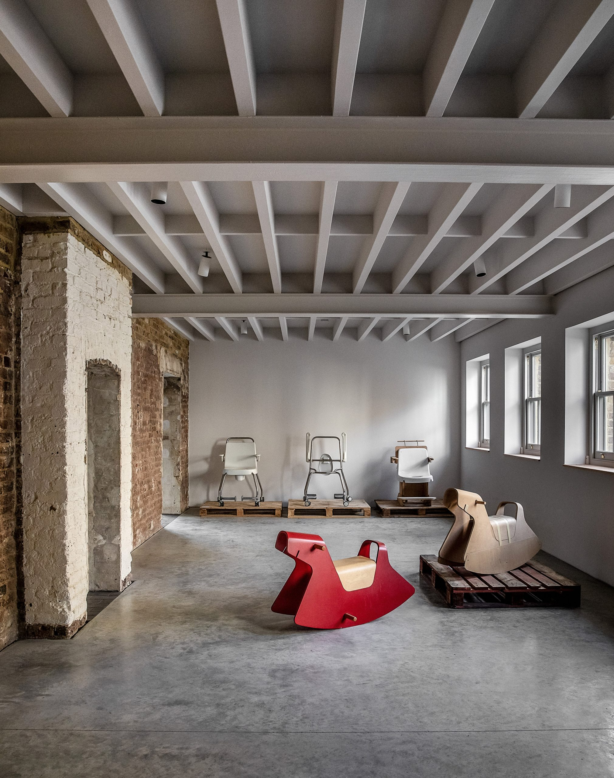 Rocking horse in Yorkton Workshops by Pearson Lloyd and Cassion Castle Architects