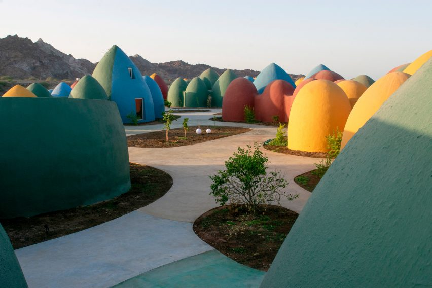 Brightly coloured domed holiday homes