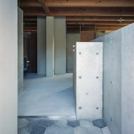 The entrance to House in Minoh-Shinmachi by FujiwaraMuro Architects