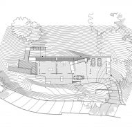 Floorplans for Gerhard Heusch's underground concrete office for Beverly Hills Oak Pass Residence