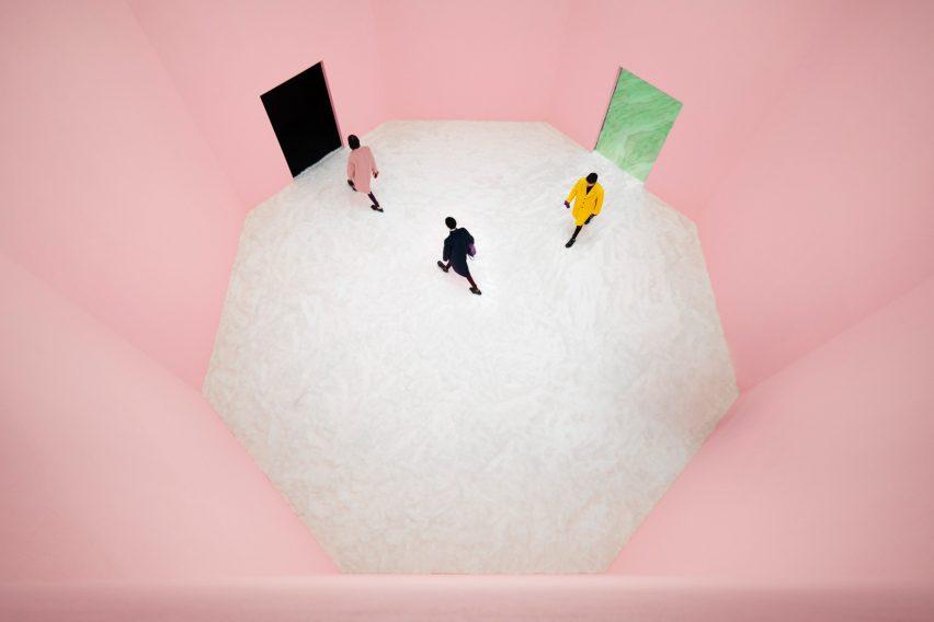 pink hued room at Prada show by AMO