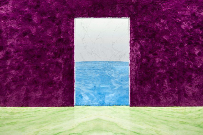 purple fur clad walls at Prada show