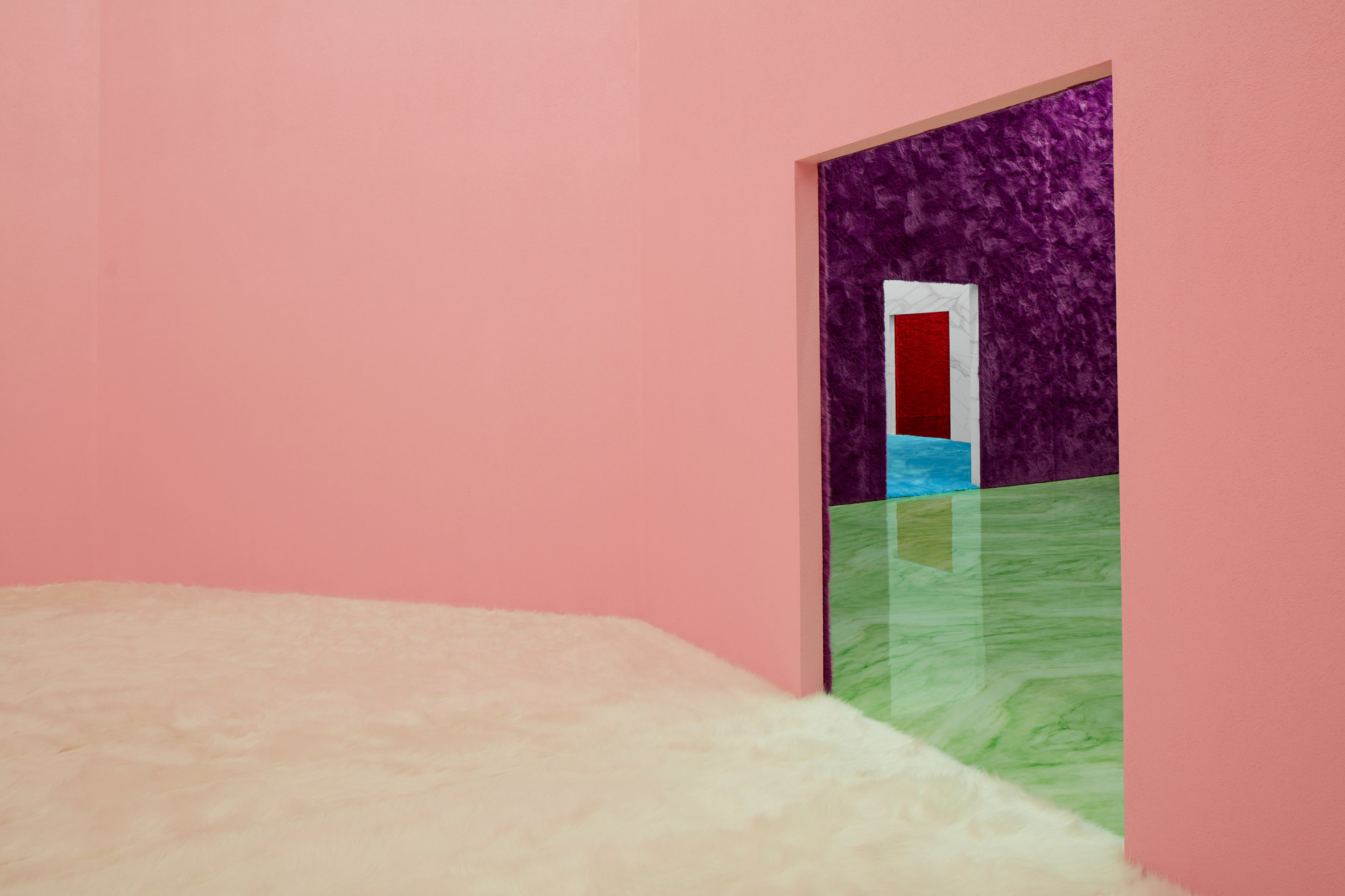 pink room at Prada FW21 Menswear show by AMO and Rem Koohaal