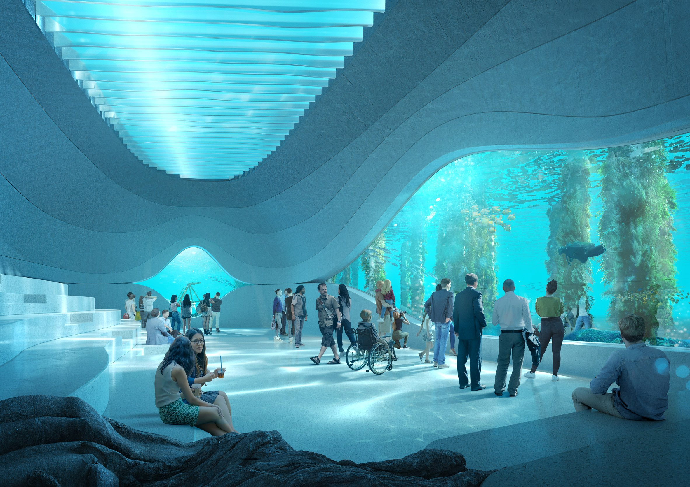 The marine observatory in Australian Underwater Discovery Centre by Baca Architects