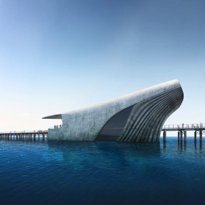 A visual of the exterior of the Australian Underwater Discovery Centre by Baca Architects