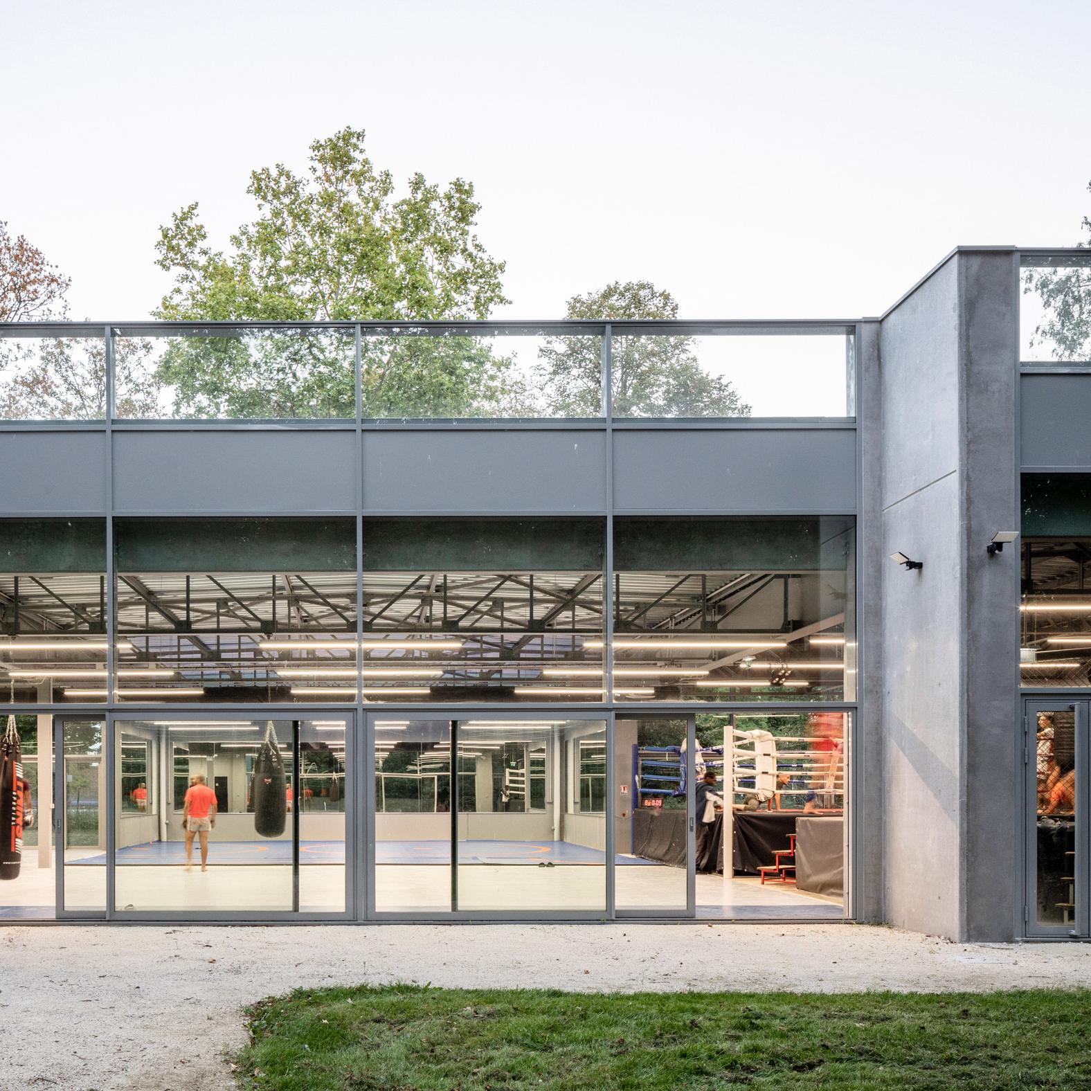 Glass-walled gym