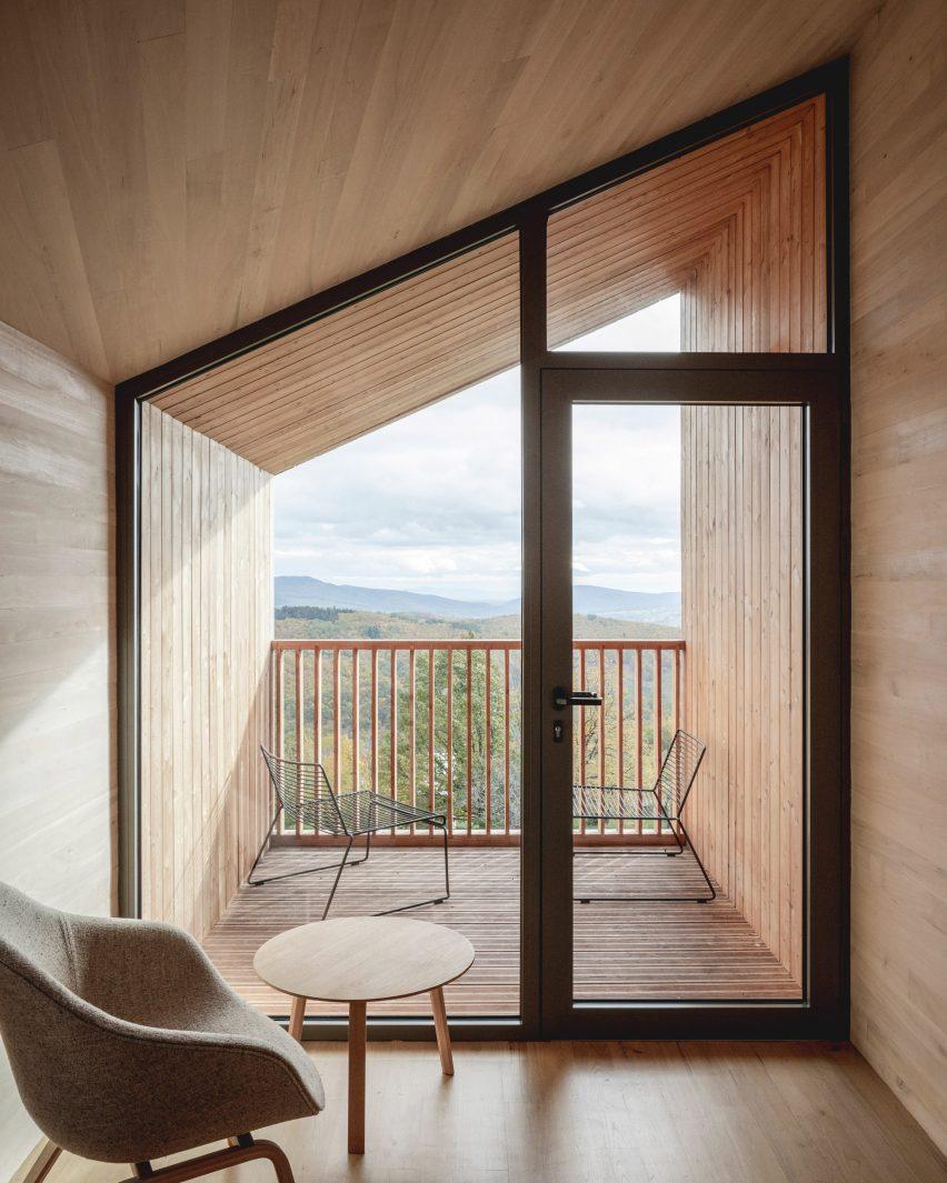 Cabin interior at 48°Nord hotel in Breitenbach by Reiulf Ramstad Arkitekter