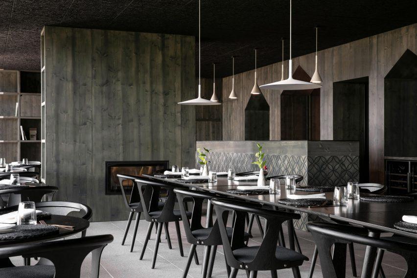 Restaurant at 48°Nord hotel in Breitenbach by Reiulf Ramstad Arkitekter