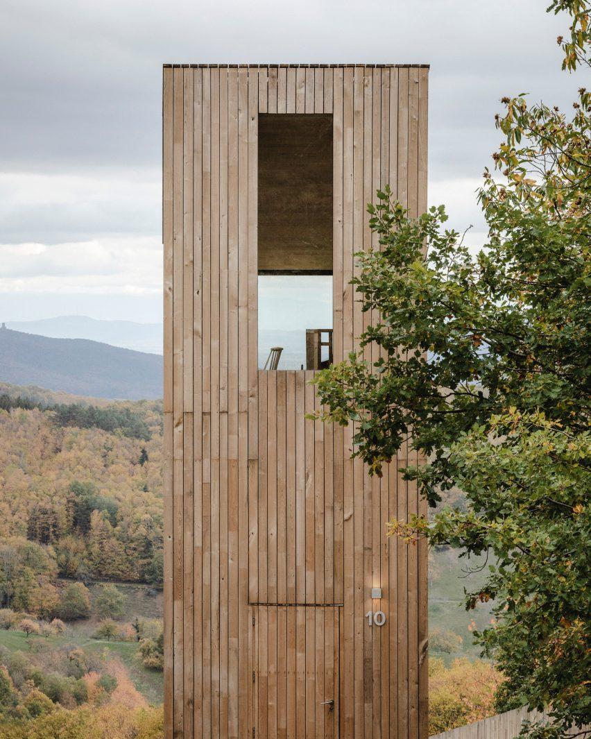 Window of Ivy cabin at 48°Nord hotel in Breitenbach by Reiulf Ramstad Arkitekter