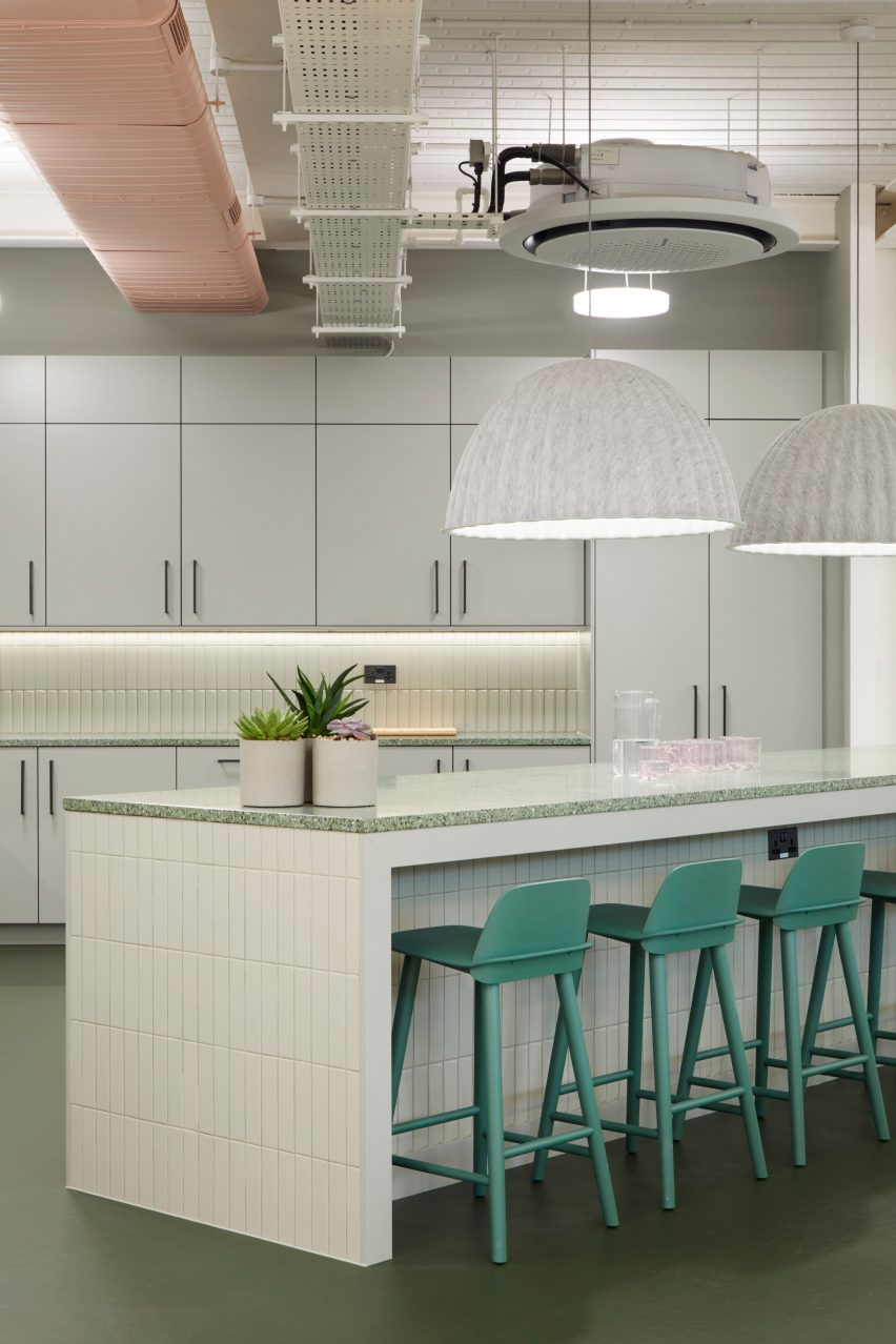 Green stools in office kitchen