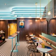 Ménard Dworkind creates retro coffee bar in downtown Montreal