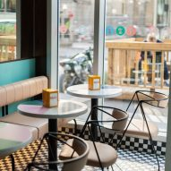 The seating area next to the cafe window