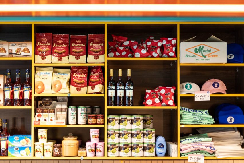 Traditional Italian food products and Caffettiera cafe merchandise