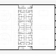 Lower basement floor plan for Camp del Ferro sports centre in Barcelona