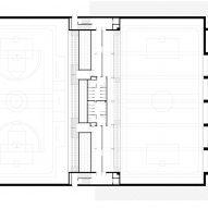 Upper basement floor plan for Camp del Ferro sports centre in Barcelona