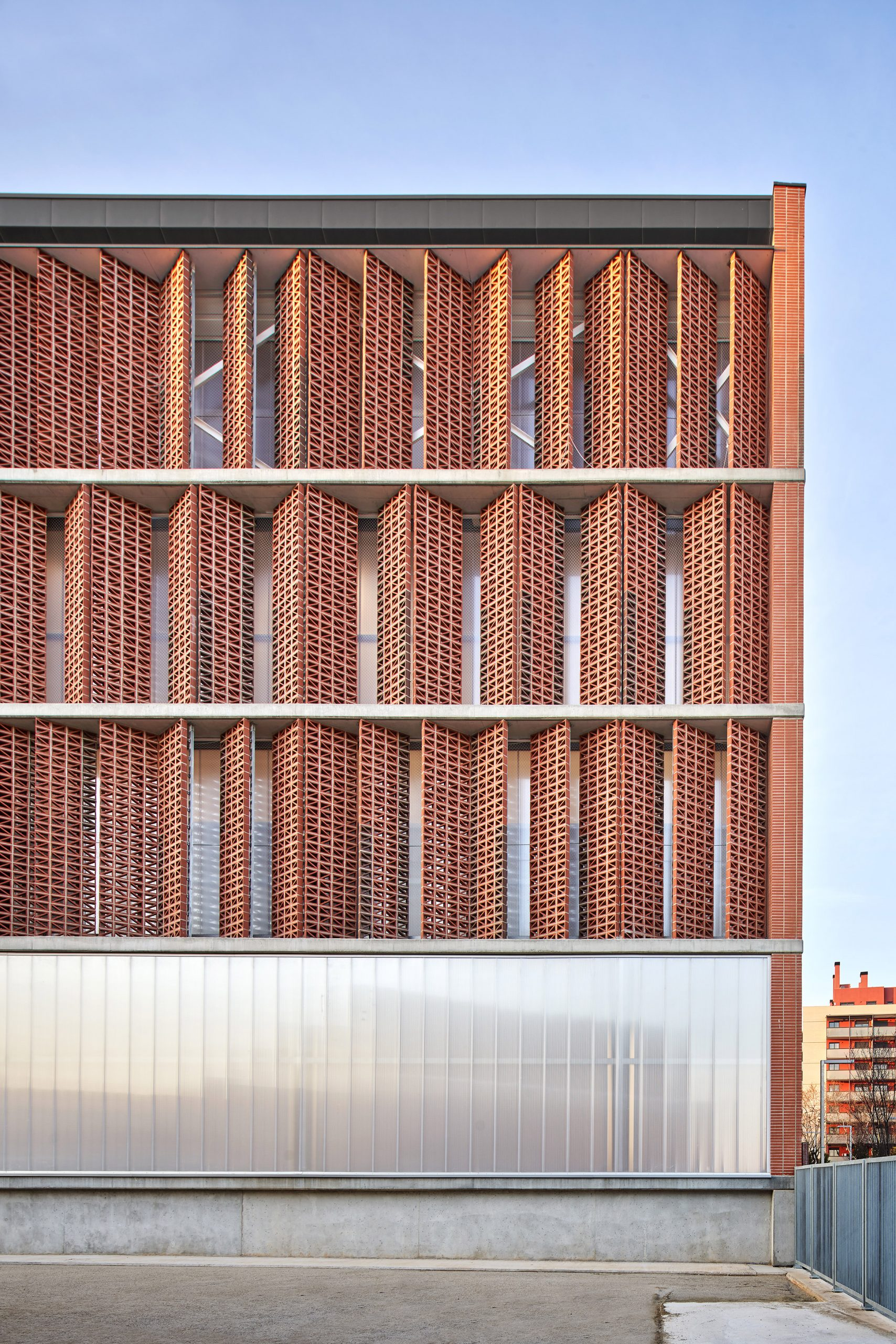 Sun shades on south elevation of Camp del Ferro sports centre in Barcelona