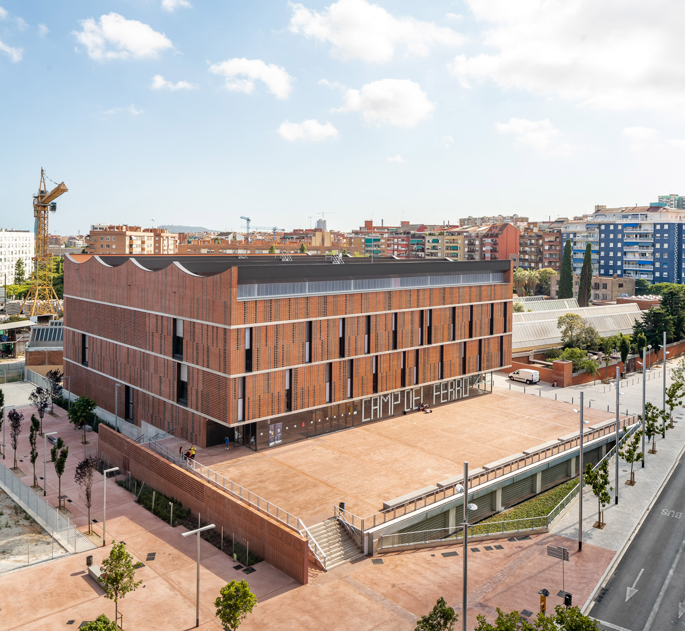 Aerial view of Camp del Ferro sports centre in Barcelona