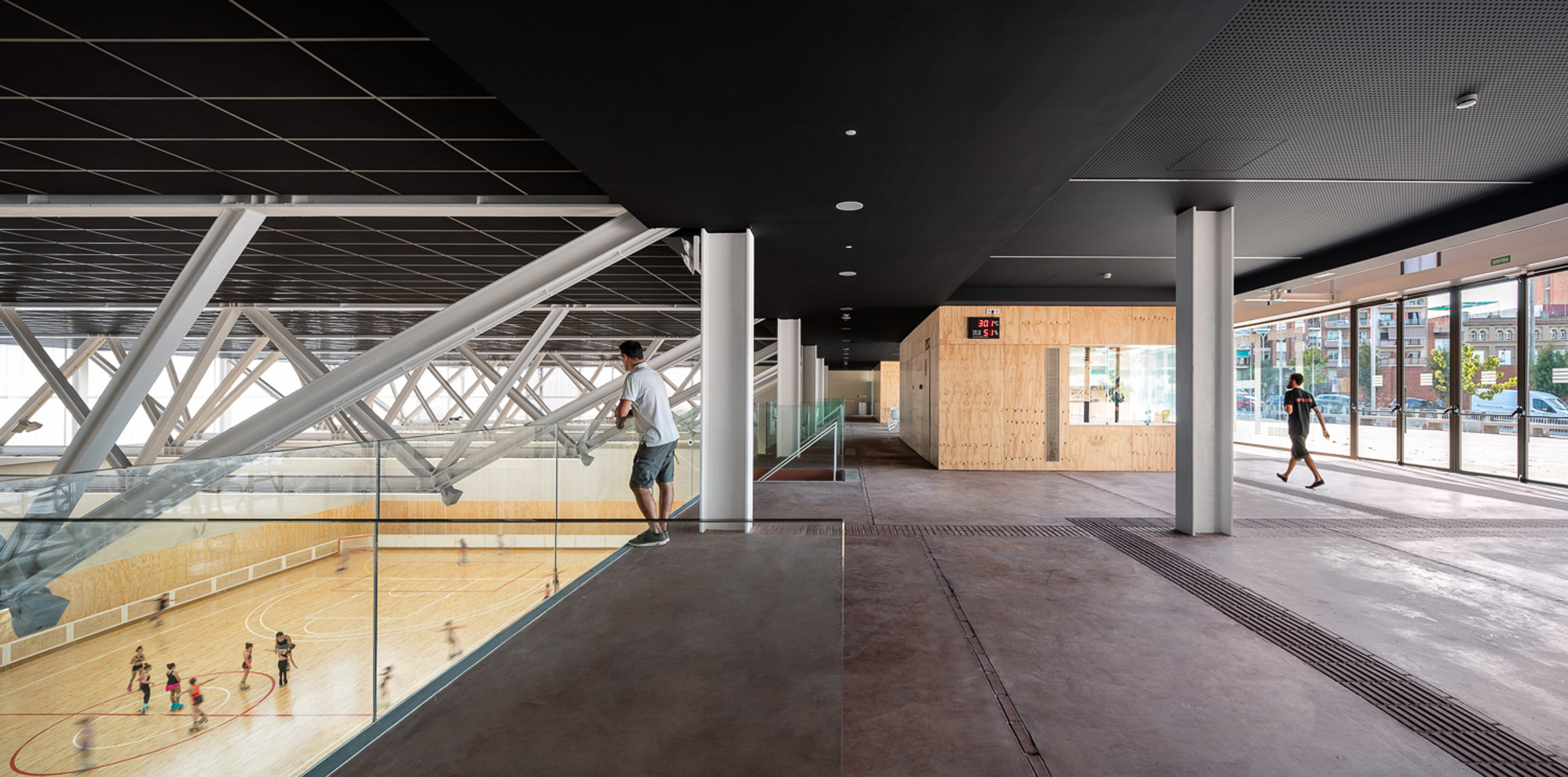Foyer of Camp del Ferro sports centre in Barcelona