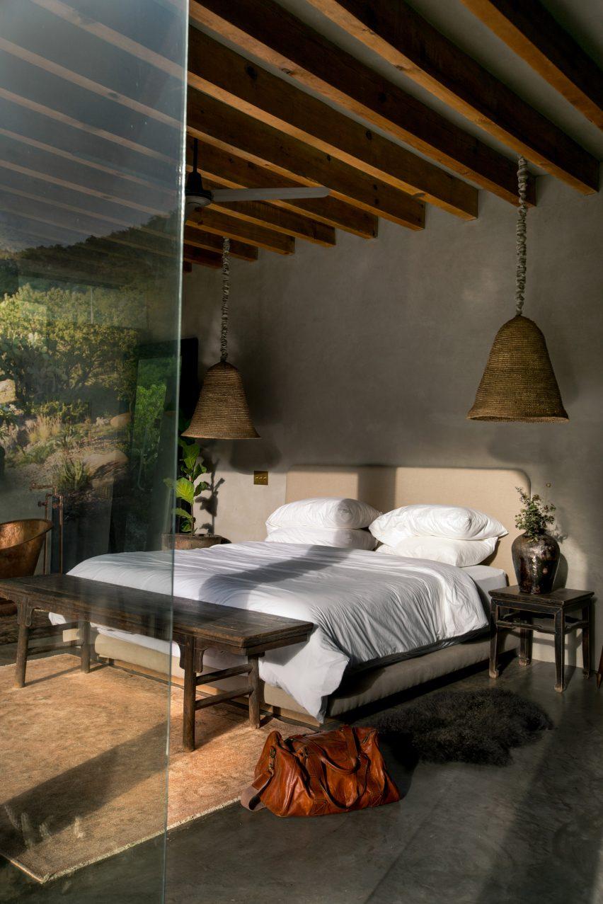 Bedroom in off-grid cabin