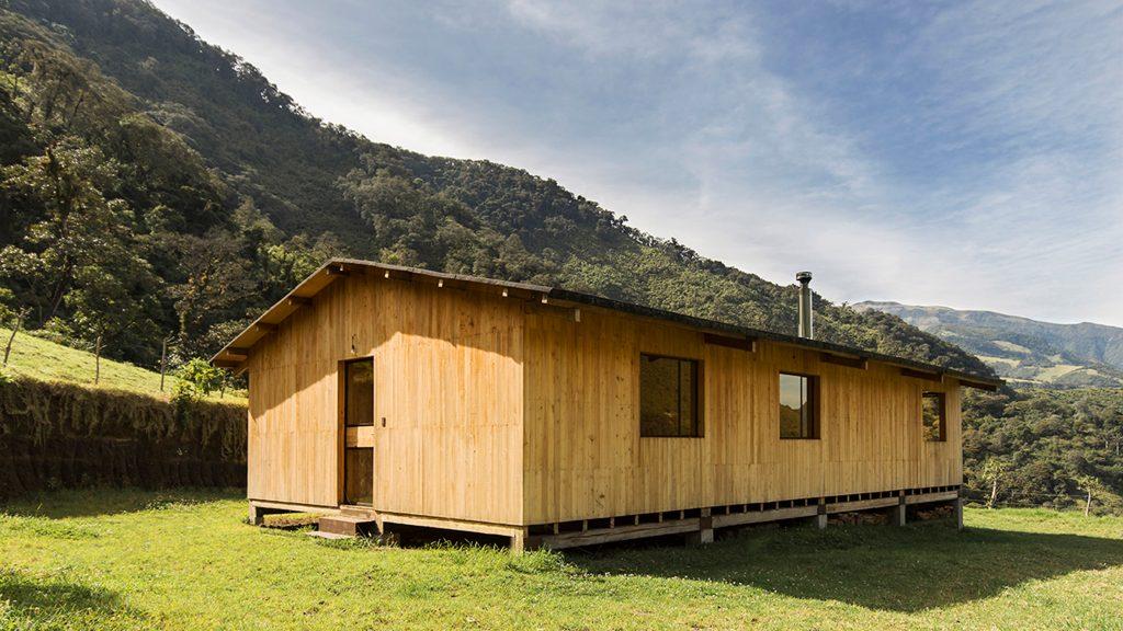 Casa Ocal is a eucalyptus-wood house in the Ecuadorian mountains