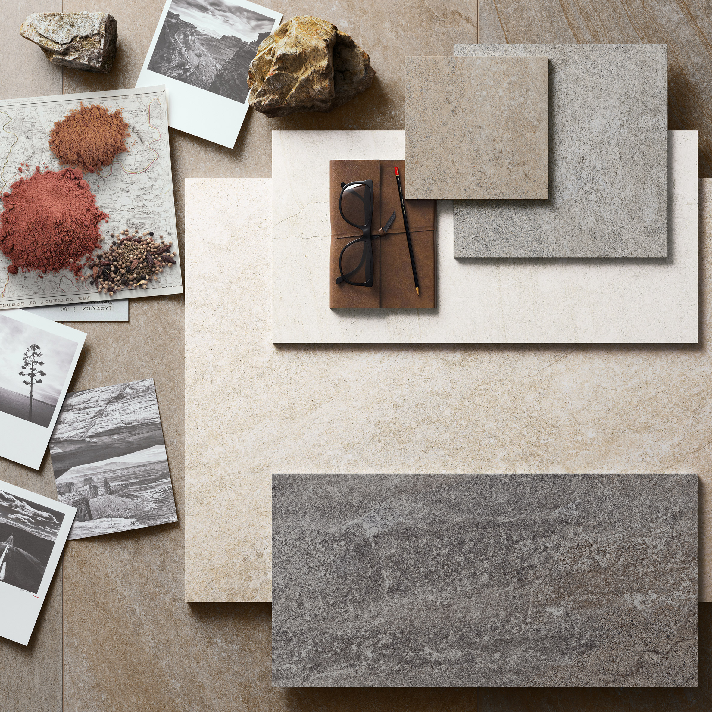 Blended porcelain tiles by Ceramiche Refin