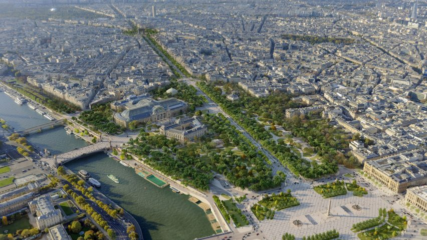 An aerial view of PCA-Stream redesign for Champs-Élysées