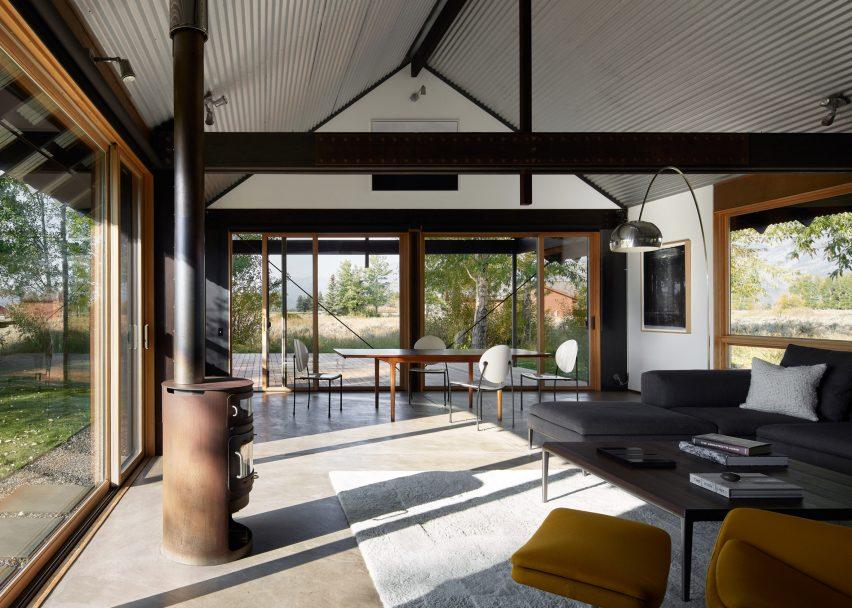 Living area and concrete floors of Logan Pavilion